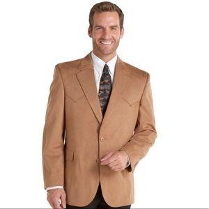 Circle S Men's Tan Suede Western Blazer.  Size 40L